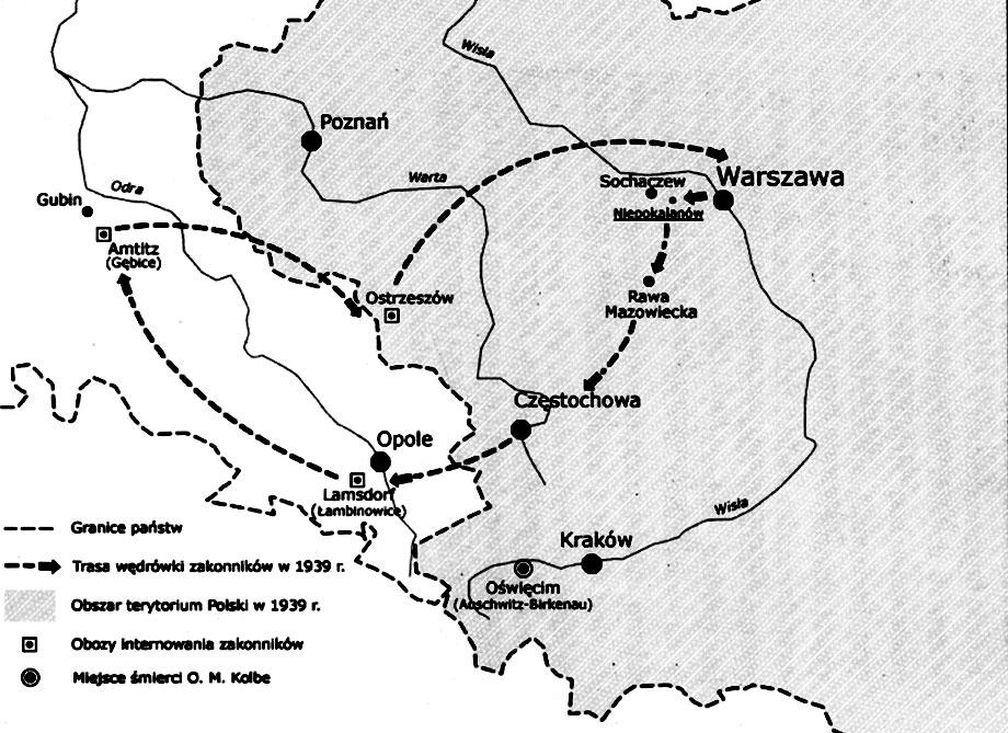 Trasa internowania Ojca Maksymiliana Kolbego w 1939 roku